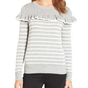Chelsea28 Gray Ruffle Striped Pullover Sweater M